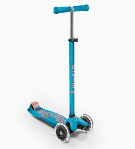 maxi deluxe led 3 wheeled micro scooter