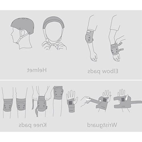 7Pcs Gear Helmet Pads Wrist, Elbow, Knee for Size