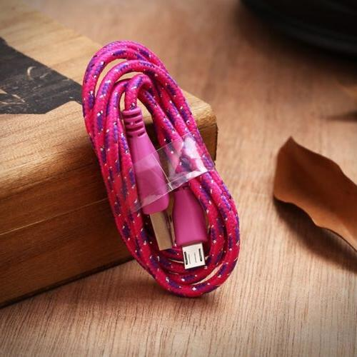 For 1M 3ft Braided Fabric Micro Data&Sync Cable Cord sx16