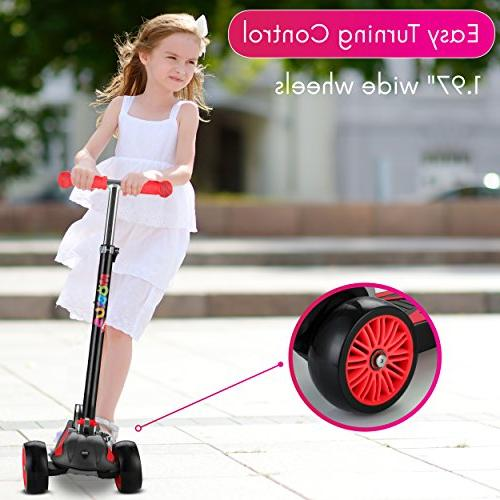 "Scooter For Kids, Foldable Kick handlebars 5-12, 2""widthX3 Wheels, 24 Months Guarantee, Kids Secrets"""