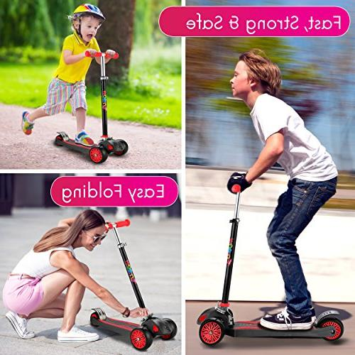 """Scooter For Maxi Foldable Scooter handlebars adjustability 5-12, Surface-safety Balance 2""""widthX3 Wheels, Secrets"""""""