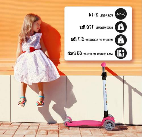 Scooter Wheel Kick Scooter Girls 4 Adjustable Ages 2-14