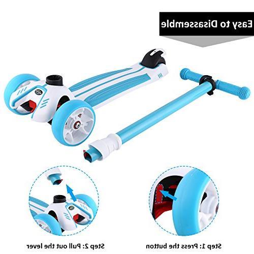 Hikole Scooter, Adjustable 3 Gifts for Children Girls 3-10 Year Blue