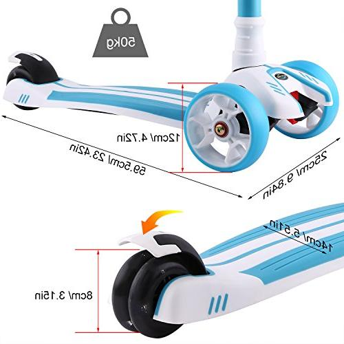 Hikole Scooter, 3 Kick Scooter, Gifts for Girls 3-10 Blue