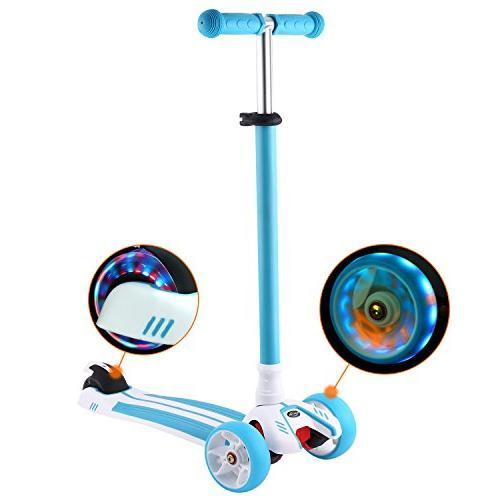 Hikole Kids Scooter, Adjustable 3 Gifts Girls Old, Blue