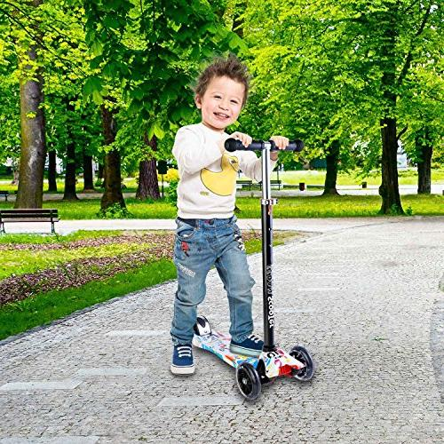 3 Wheel Height Kick Scooters with Glider PU Deck Children 5