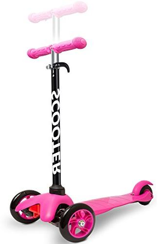 Den Haven Scooter Kids - Deluxe 3 Wheel Glider with Kick Go, 2 Step Brake-Pink