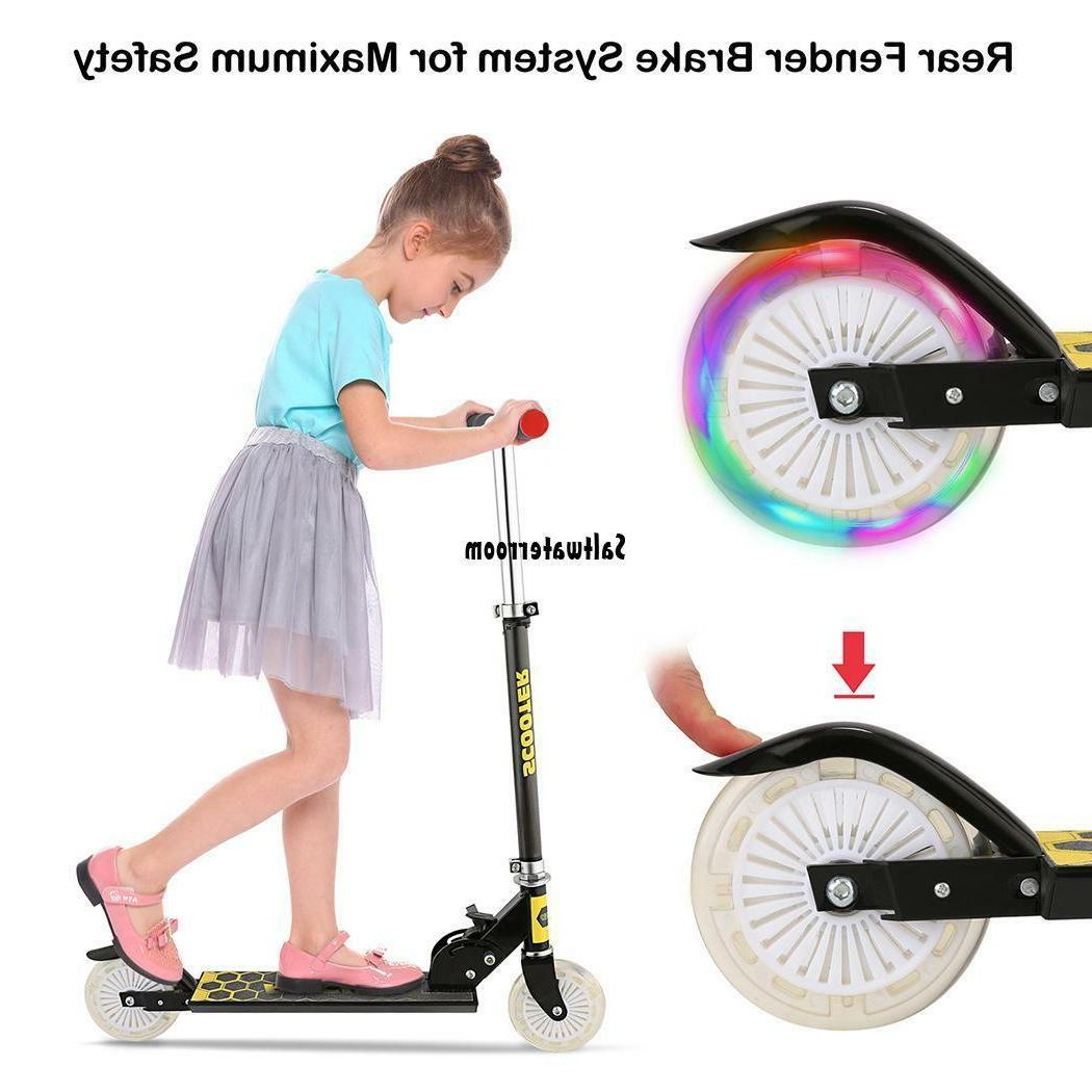 Scooter Adjustable Kick Scooters Girls Boys 2 Wheels Kids Adults