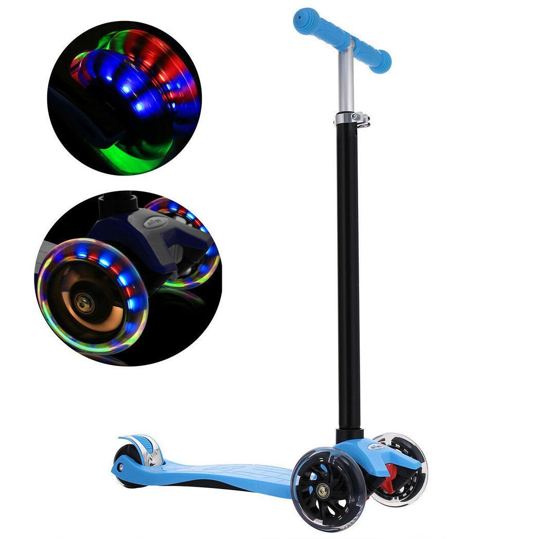 3 Wheels Kick Scooter w/LED Light Up Wheels for Toddler Kids