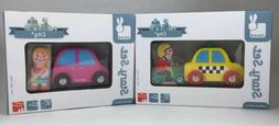 Lot of 2 NEW Janod STORY SET CITY-Yellow Taxi Cab & Scooter/