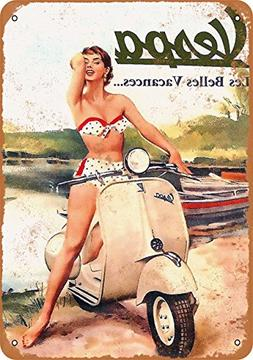 Wall-Color 9 x 12 Metal Sign - Vespa Scooters - Vintage Look