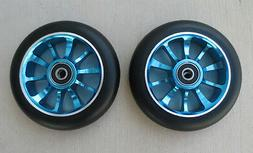 Pair 110mm Black on Blue Metal Core Scooter Wheels  w/ABEC-1
