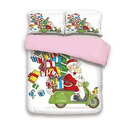 Pink Duvet Cover Set,King Size,Santa on Motorbike Scooter wi
