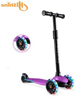 Purple Kick Scooter for Kids with 3 Big Light Up Wheels, Des