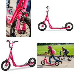 "Ride On 12"" Wheels Scooter Kids Pink Air Tires Wide Foot Dec"