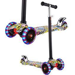 Hikole Scooter for Kids Boys Girls Age 3-12, 3 Wheel Mini Ki