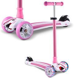 Hikole Scooter for Kids Boys Girls, Big Wheel Adjustable Kic