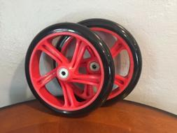 Set of 2 Fuzion Pro Scooter 200mm Wheels Red 5 Spoke 7 Abec